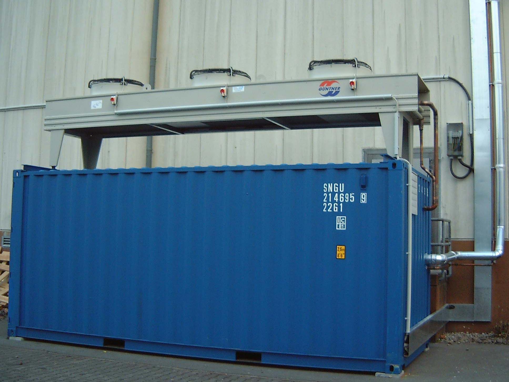Betriebsfertige Kältetechnik in Container